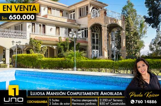 Lujosa casa amoblada con piscina en cochabamba