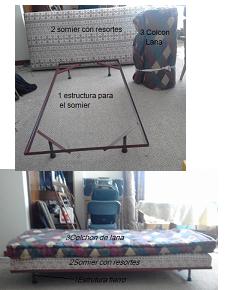 dos camas  una plaza. con estructura metálica, somier con resortes, colchón lana